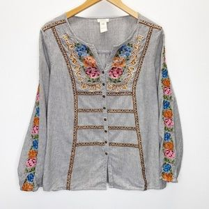 Sundance Floral Embroidered Peasant Top Sz S